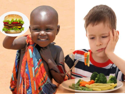 african child with food, american child with vegetables